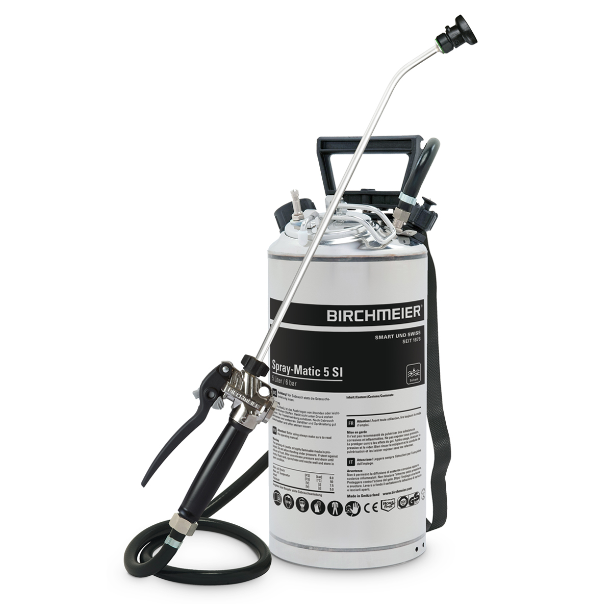 Spray-Matic 5 SI with stainless steel hand pump and compressed-air union