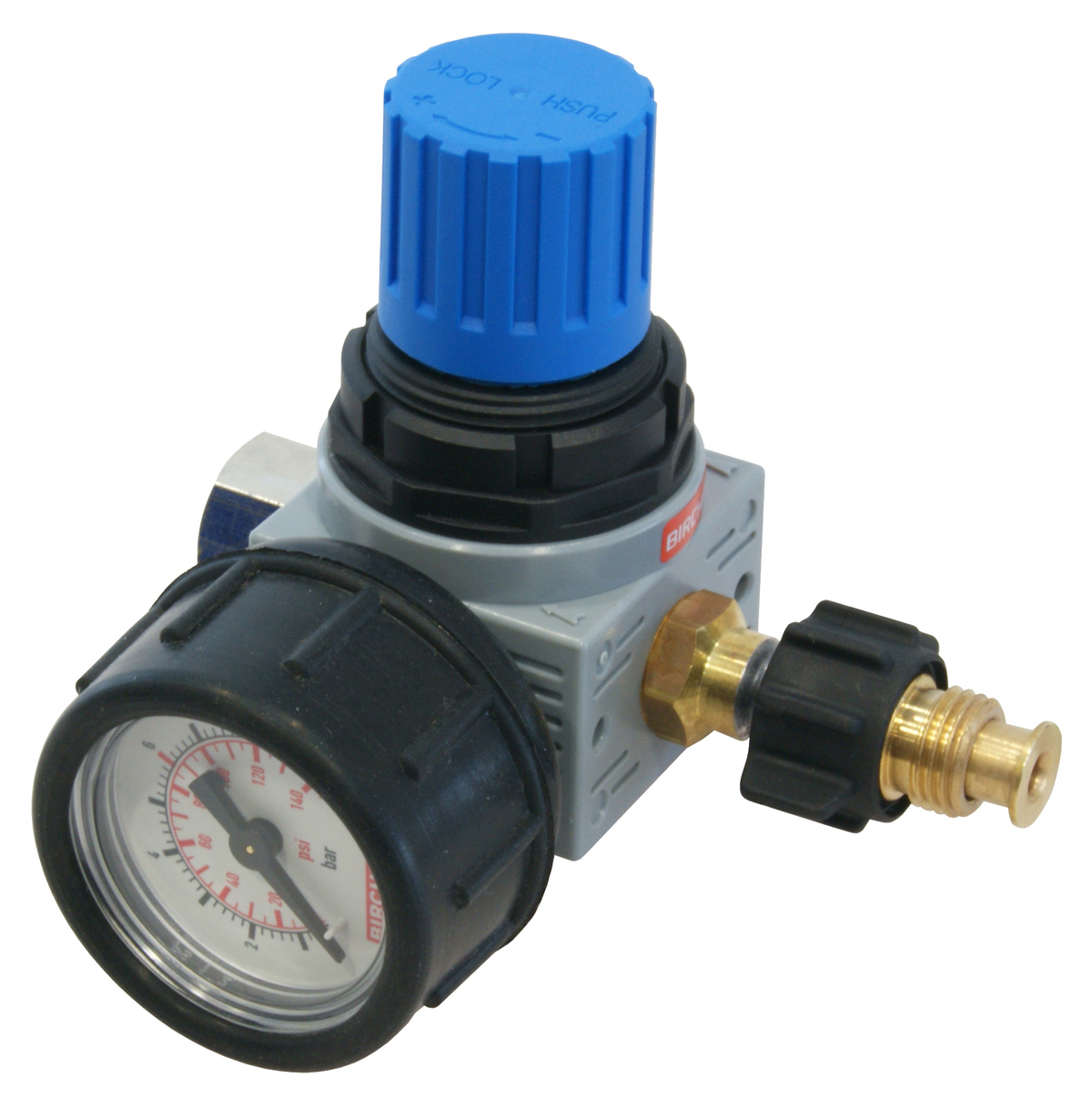 Pressure regulator with pressure gauge